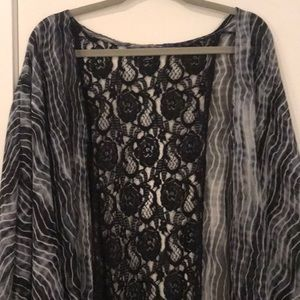 Patterned Cover-Up with Lace-Size: 1X